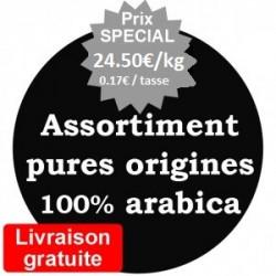Assortiment cafés pure origines 100% arabica