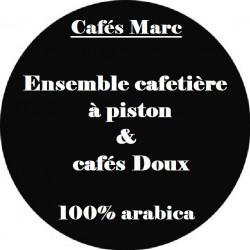 Ensemble cafetière à piston Java noire et cafés doux