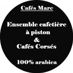 Ensemble cafetière à piston Java Rouge et cafés Corsés