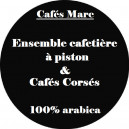 Ensemble cafetière à piston Java Noire et cafés Corsés