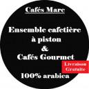 Ensemble cafetière à piston Java Blanche et cafés Gourmet
