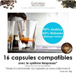 Café mélange maison arabica-robusta (40-60) en capsule