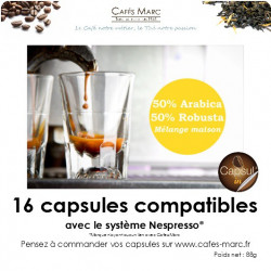 Café mélange maison arabica-robusta (50-50) en capsule